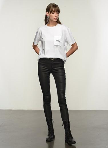 NGSTYLE Kadın Cep Detaylı  Tişört NGKSS21TS0041 Beyaz